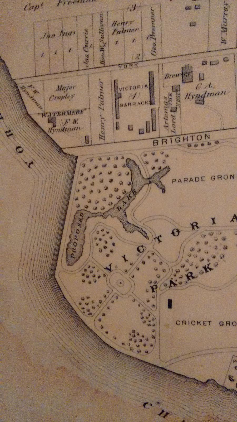 """Proposed Lake"" in Victoria Park"