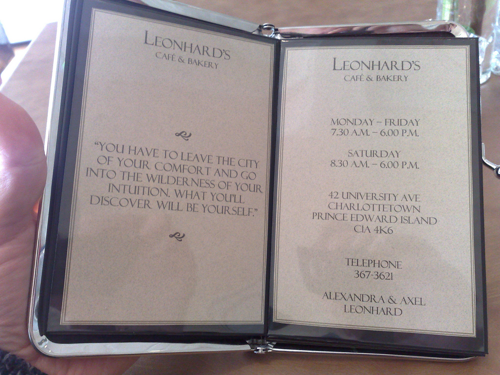 The Leonhard's Menu