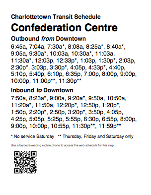 Sample Bus Schedule with QR Code