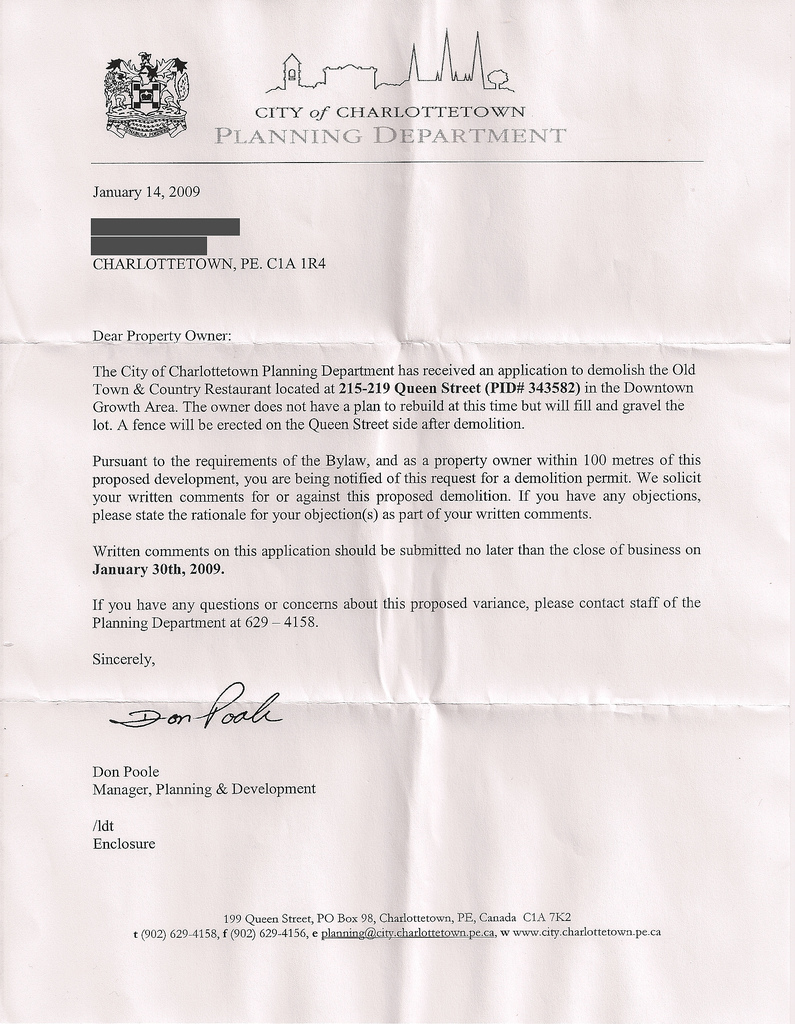 Planning Department Letter for Town and Country Demolition