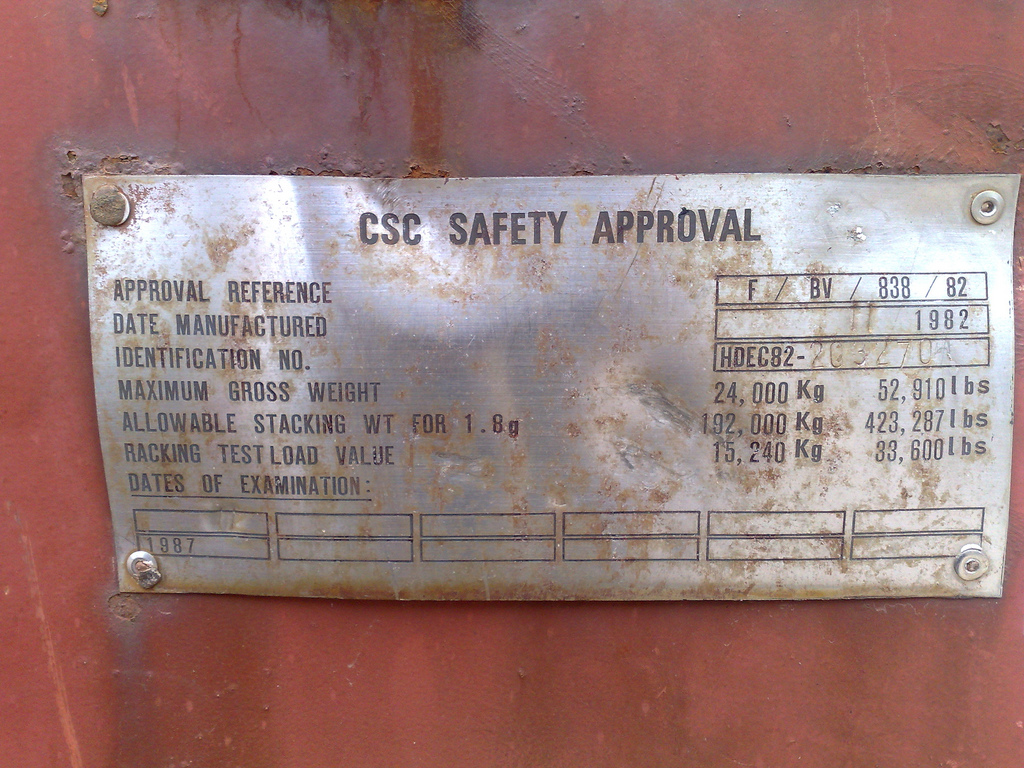 CSC Safety Approval Plate