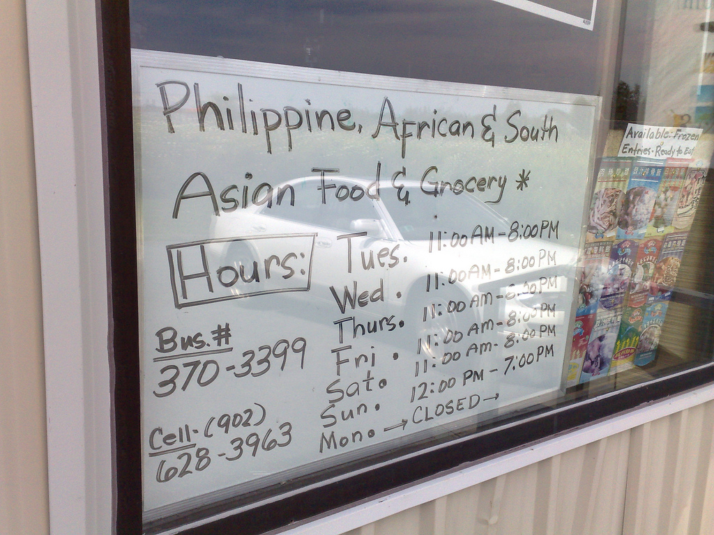 Philippine, African and South Asian Food Grocery Hours