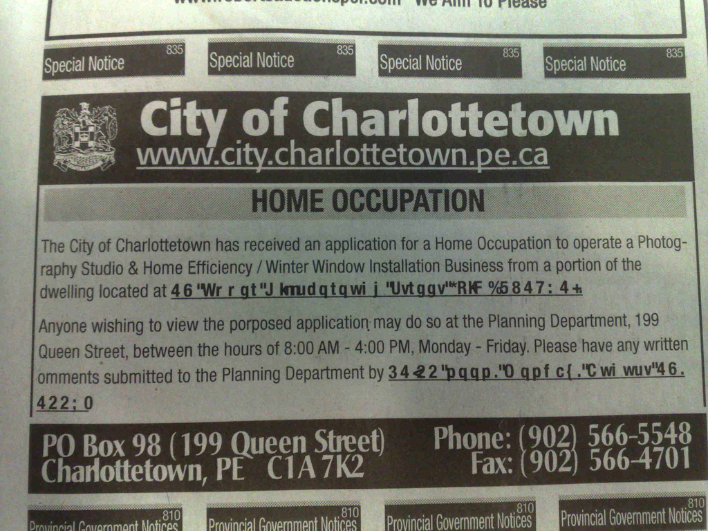 City of Charlottetown Ad in The Guardian