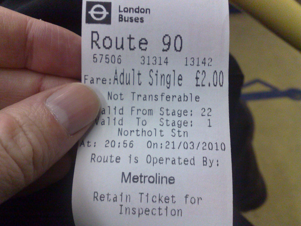 Bus Ticket from Cineworld to Hatton Cross