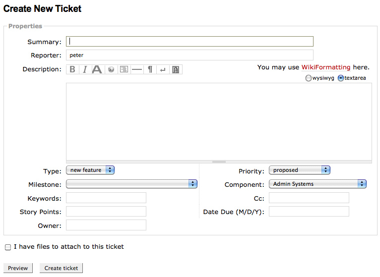 Creating a New Ticket in Trac