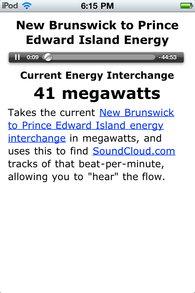 PEI Energy Player on iPod Touch