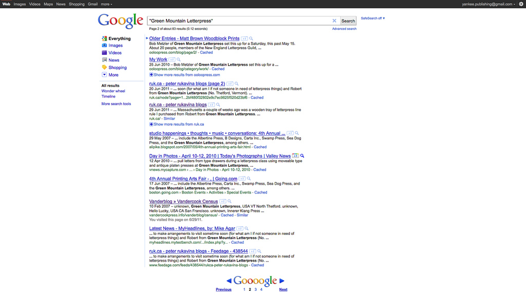 Google Redesign Launched Mid-Search (Before)