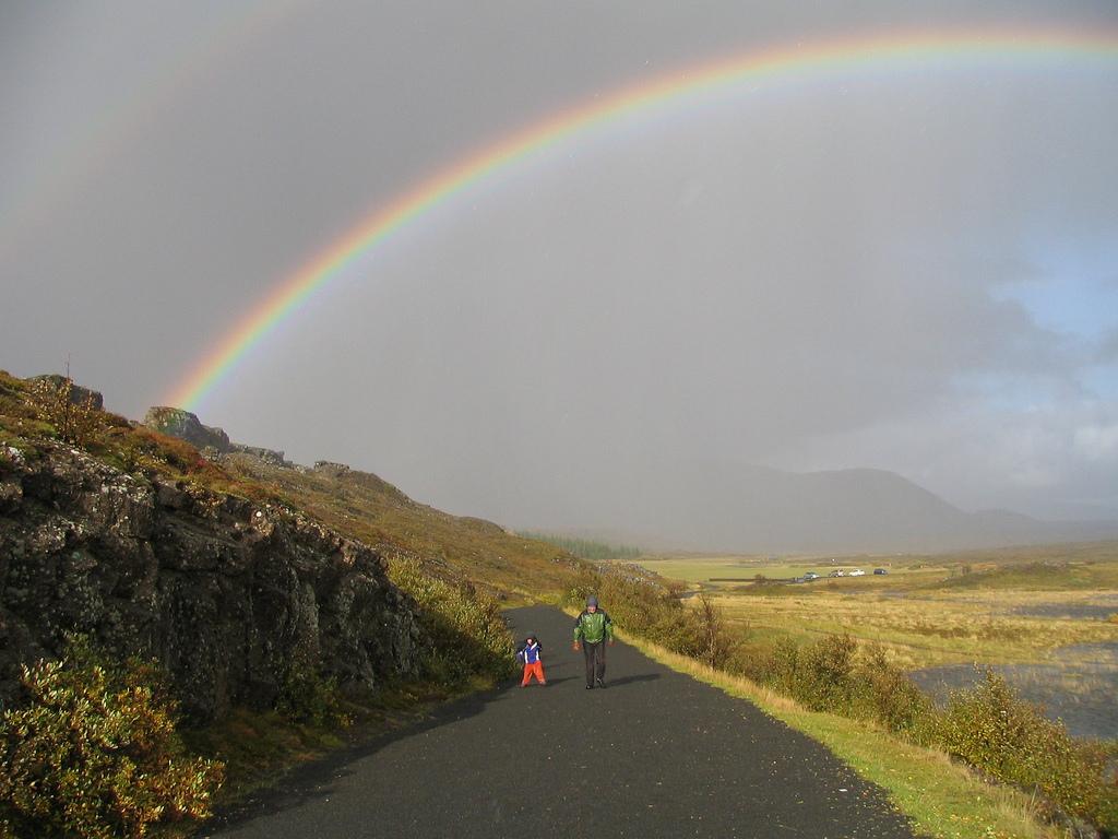 Rain, Son, Father, Rainbow, Iceland