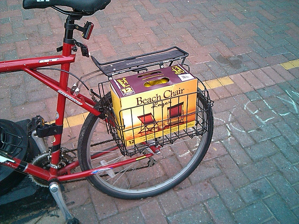 12 Pack of Beach Chair Lager in my Bicycle Carrier