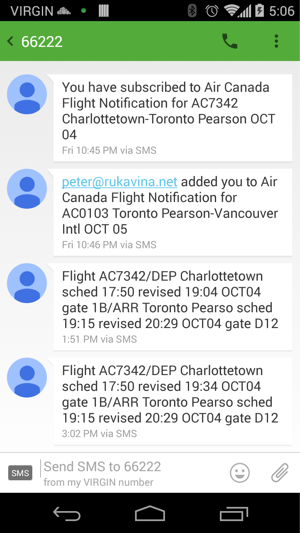 Flight Notification SMS
