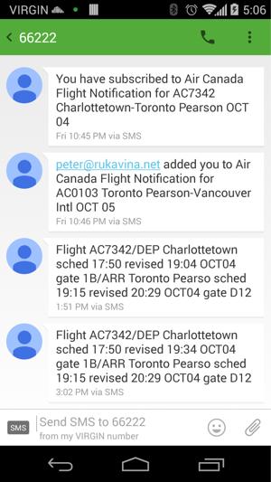Flight Notification SMS