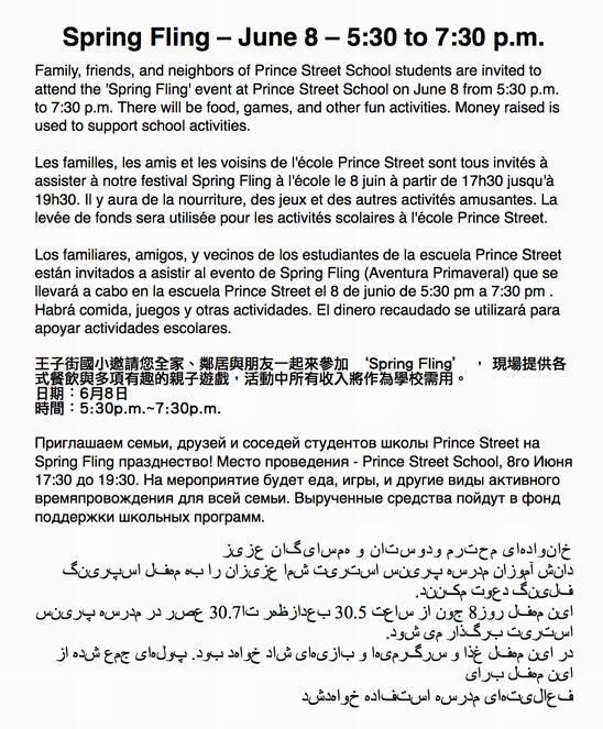 Spring Fling Flyer in Multiple Languages