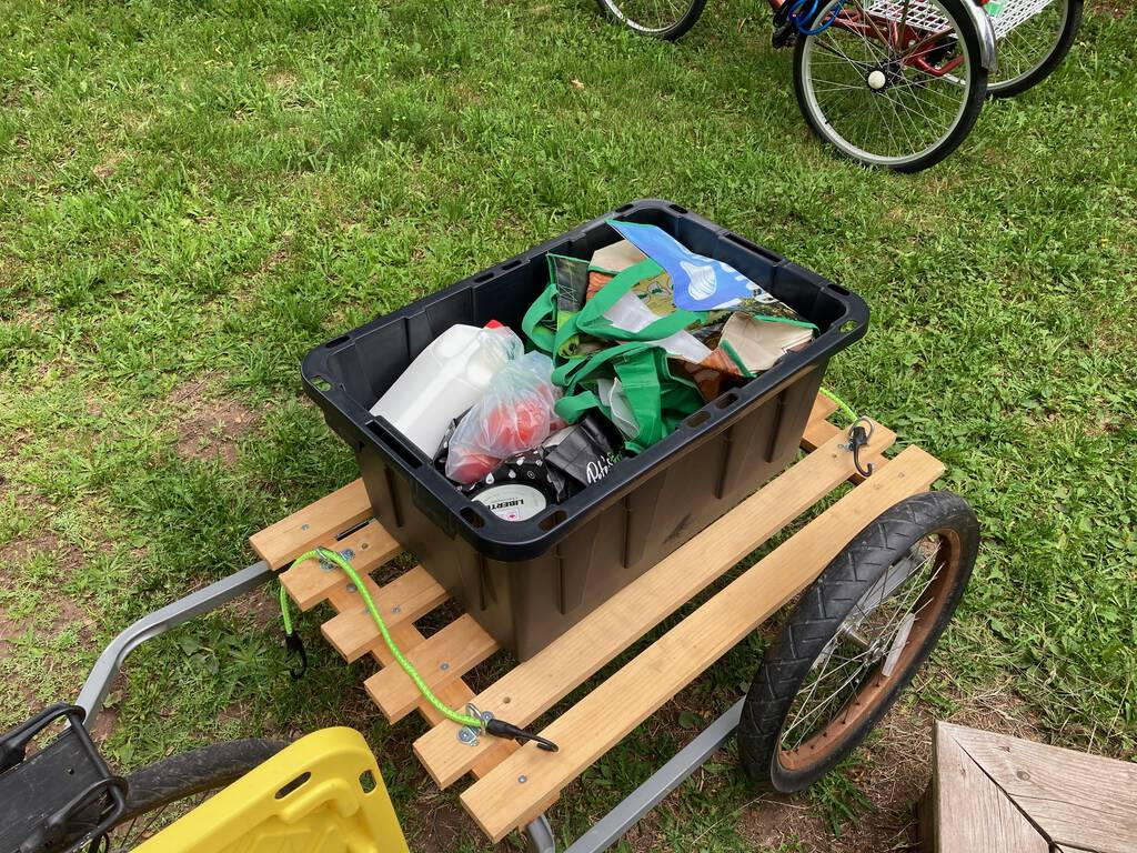 Photo of my bicycle trailer filled with groceries.