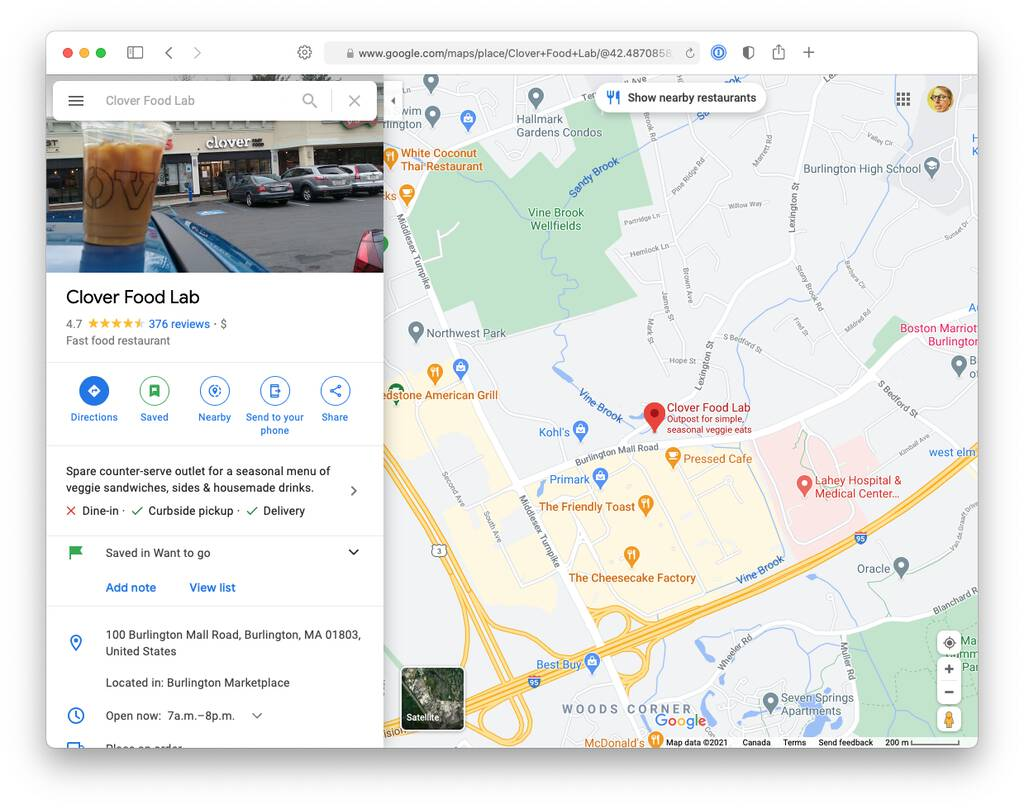 Screen shot of my browser showing Clover Food Labs in Burlington, MA on Google Maps.