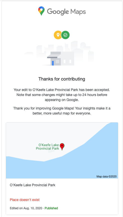 Screen shot of message from Google Maps showing place deleted.