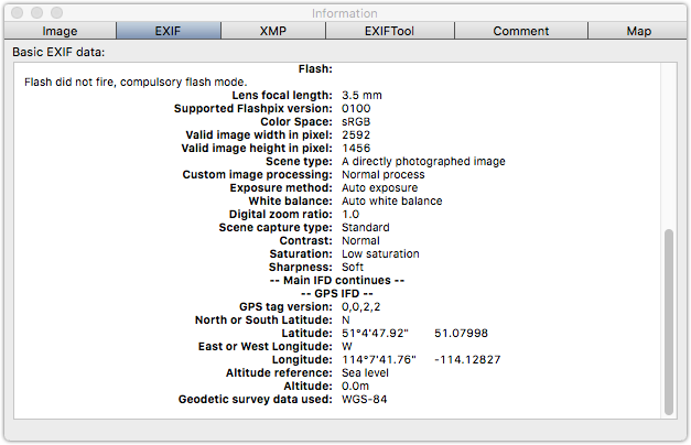 GPS data in GraphicConverter for the second image