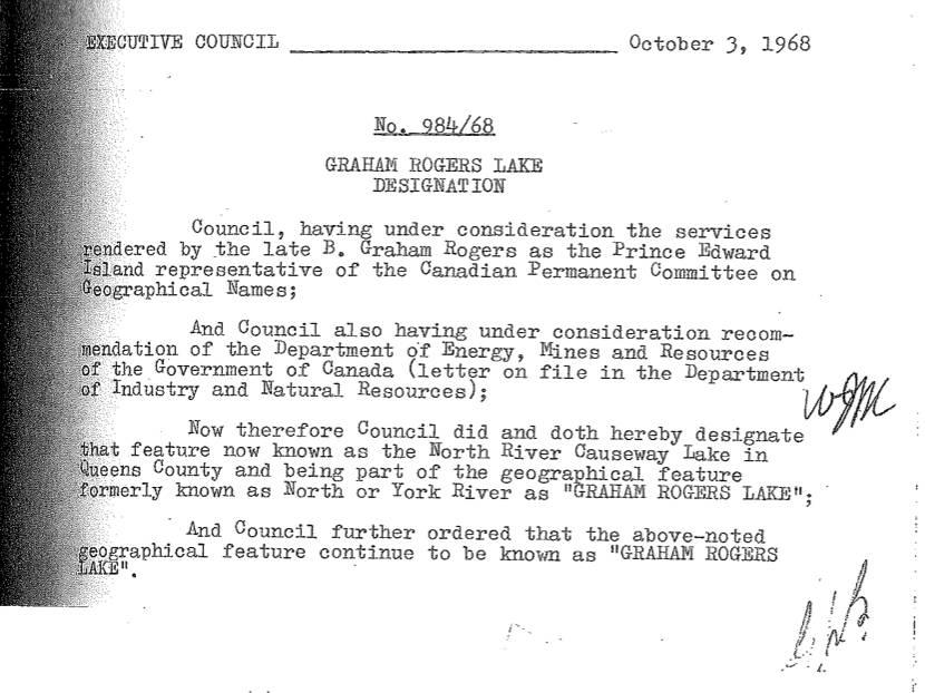 Executive Council Memo designating Graham Rogers Lake.