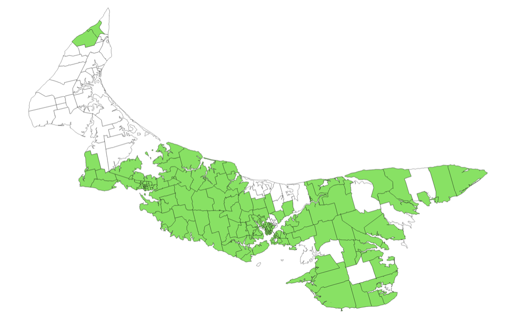 Map showing polls where Greens came first OR second