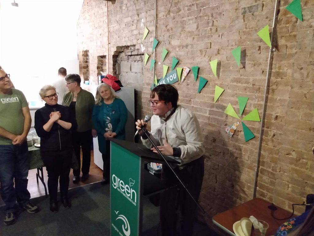 Oliver speaking at the Green Party volunteer celebration
