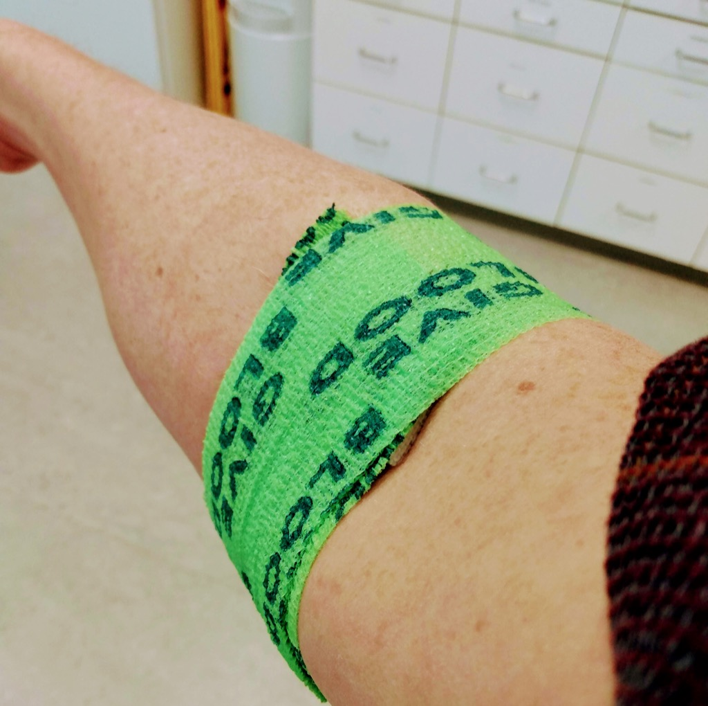 Green wrap on my right arm.