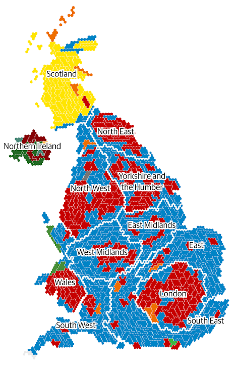 The Guardian visualization of the UK election results as a cartogram