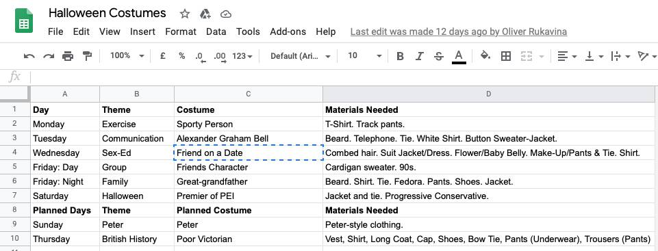 Screen shot of Oliver's Halloween costume planning spreadsheet, showing each day of Halloween week, the theme, he costume, and the materials needed.
