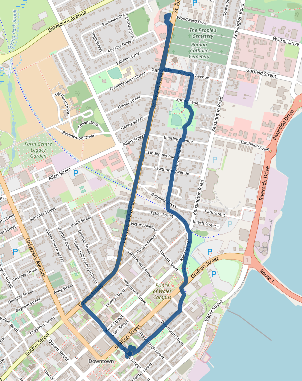 Map showing route from downtown to Home Hardware, through Parkdale.