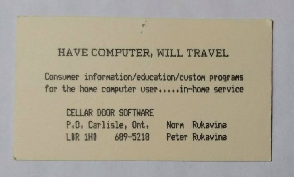 Have Computer Will Travel business card
