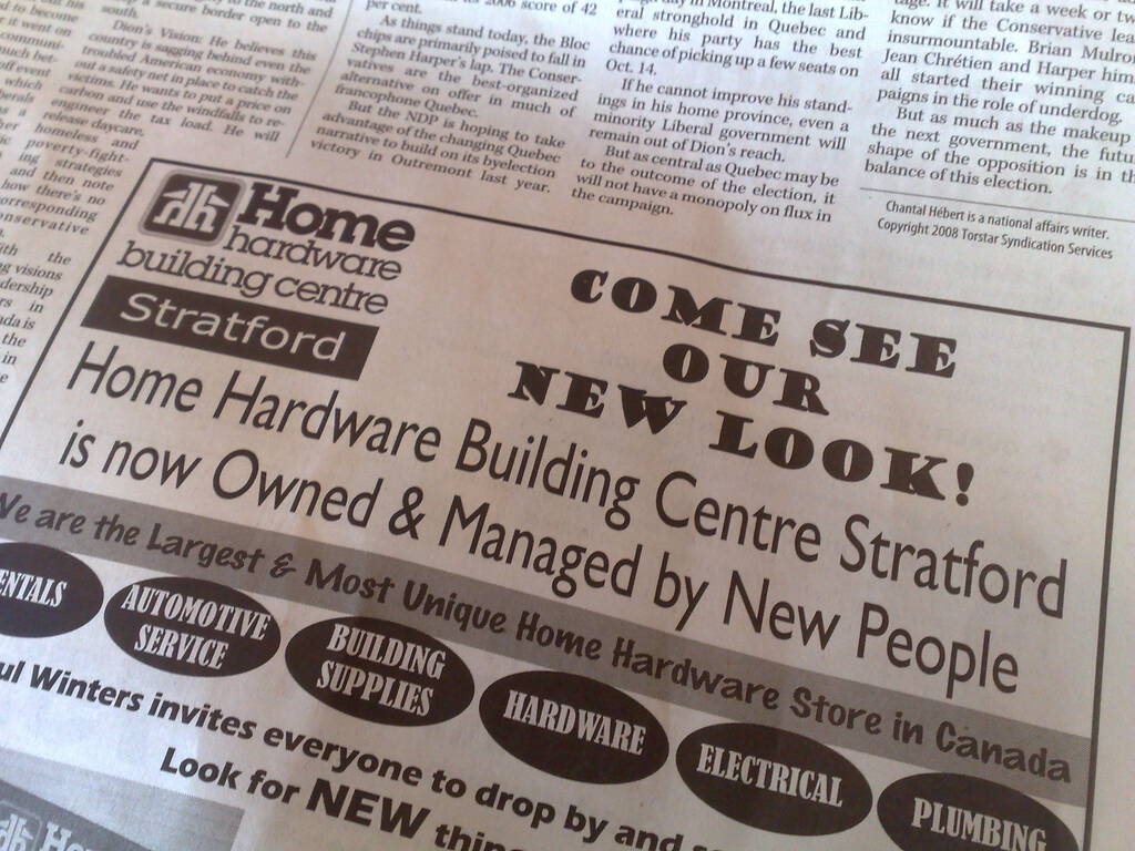 "Stratford Home Hardware ""Managed by New People"""