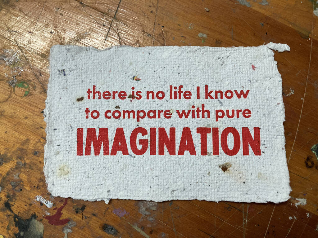 "Finished ""pure imagination"" print on handmade paper."