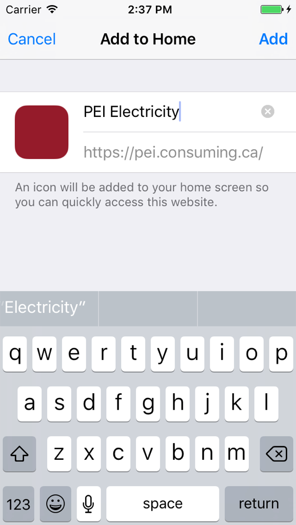Screen shot of iOS add-to-home-screen process for this web app