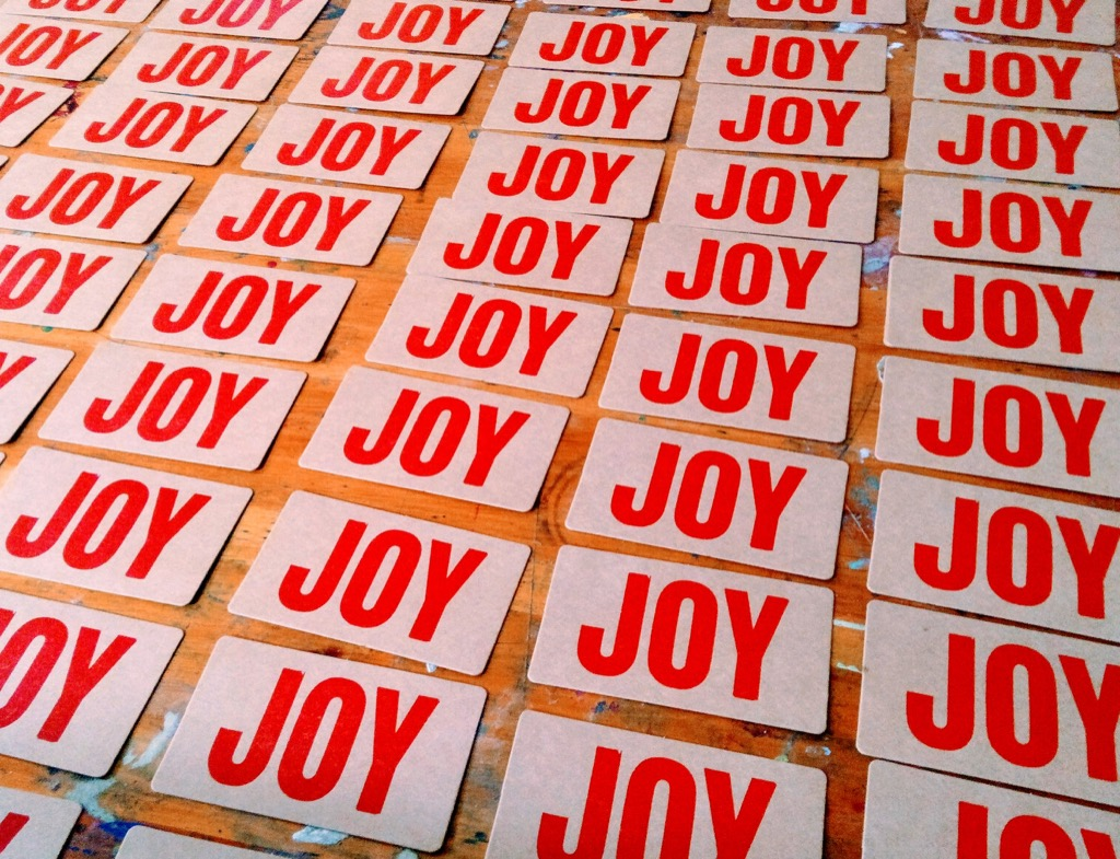Photo of letterpress Joy