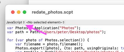 Selecting JavaScript in Script Editor
