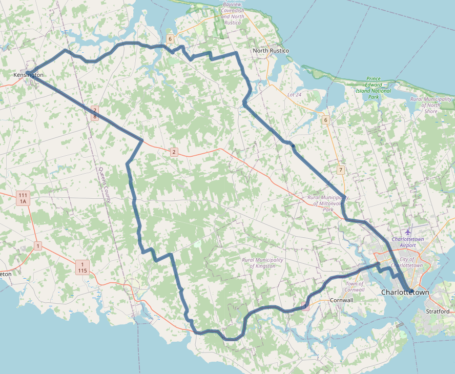 Map showing the route of my Thursday journey.