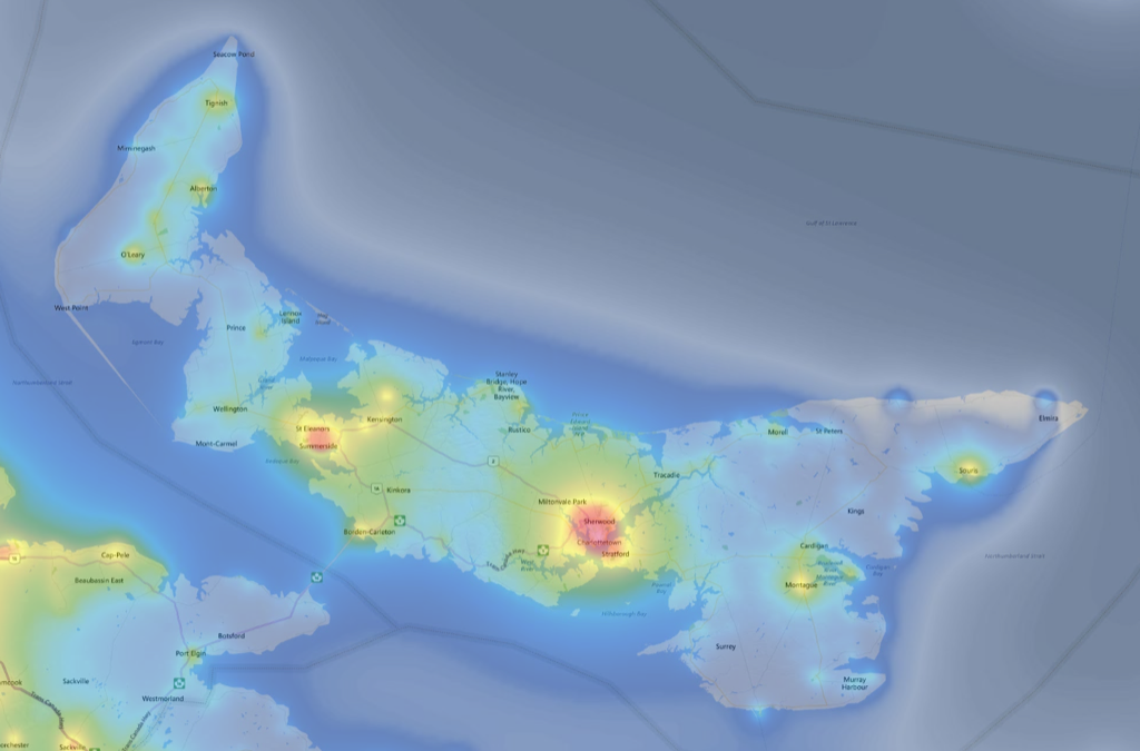 Screen shot of light pollution map showing Prince Edward Island and eastern New Brunswick