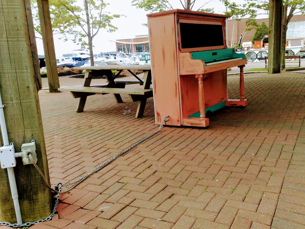 Locked piano at Confederation Landing Park