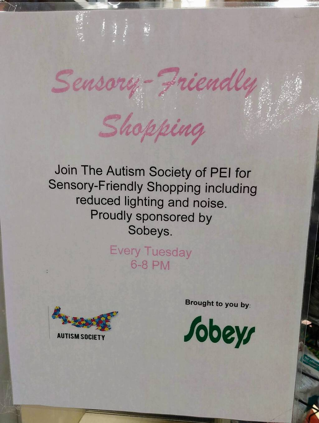 Sign advertising Low Sensory Night at Sobeys