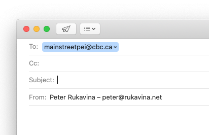 Screen shot showing an email message starting to CBC Mainstreet
