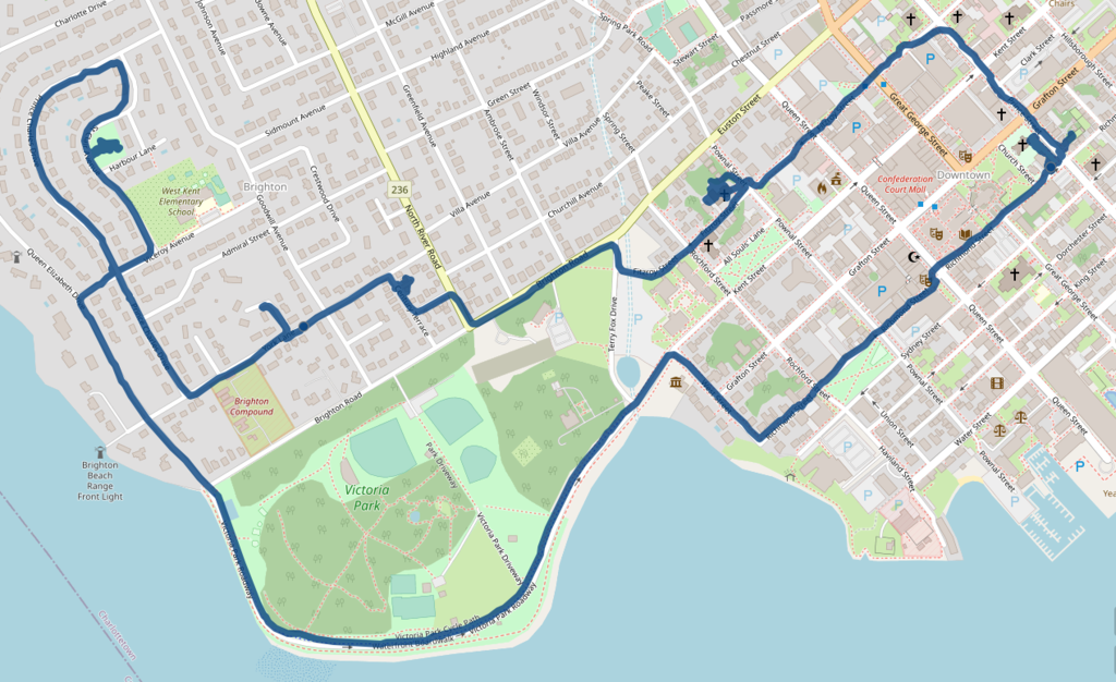 Map of downtown Charlottetown showing my cycle route from my office on Prince Street, west to Kirk of St. James, then into Brighton and back to my office via Victoria Park.