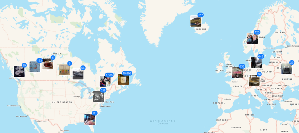 My Photos in Photos app on my Mac, mapped