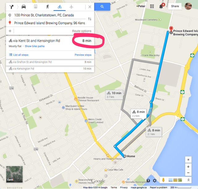 Google Maps cycling directions from my house to PEI Brewing company showing estimated time of 8 minutes
