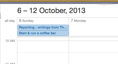 iCal showing book dates due on calendar
