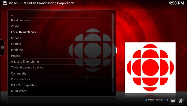 Kodi + CBC Plugin