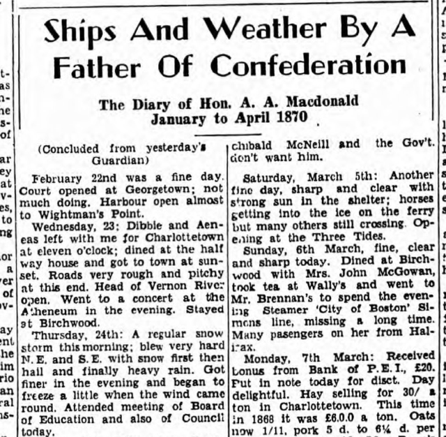 Snippet from January 30, 1952 edition of The Guardian.