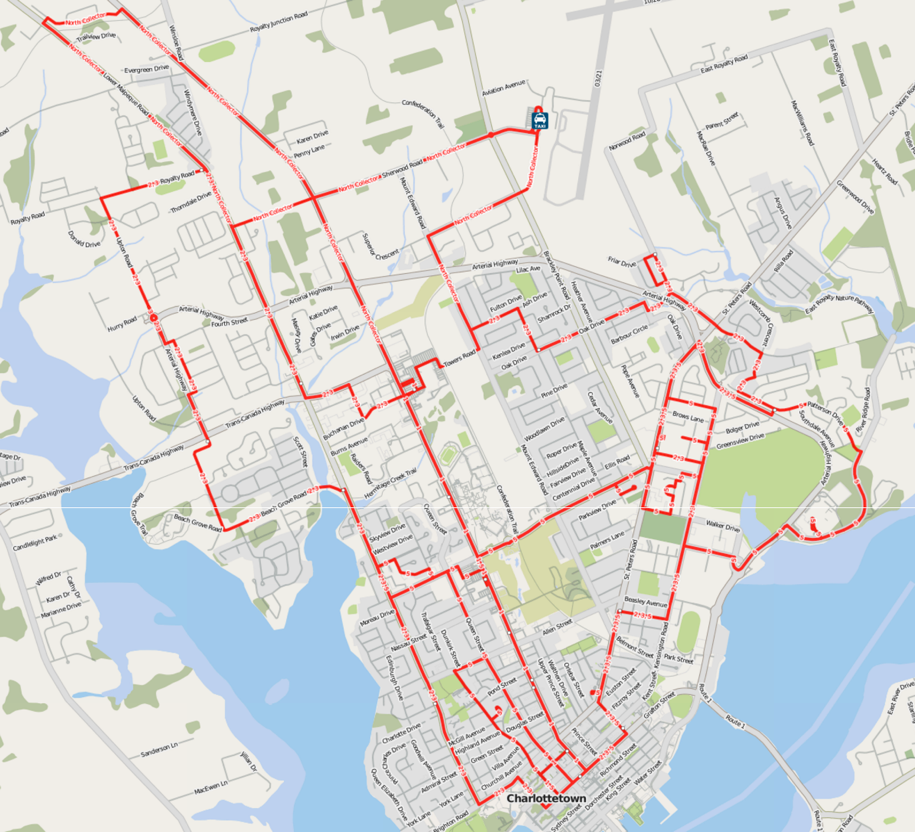 Charlottetown Transit Routes in OpenStreetMap