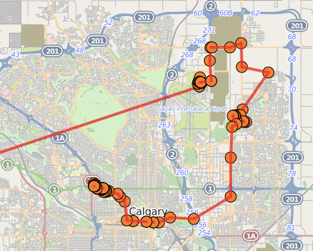 Calgary Map showing my route from the airport to my hotel