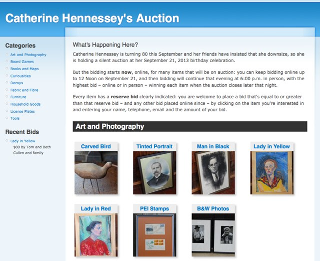 Catherine Hennessey Auction Screen Shot