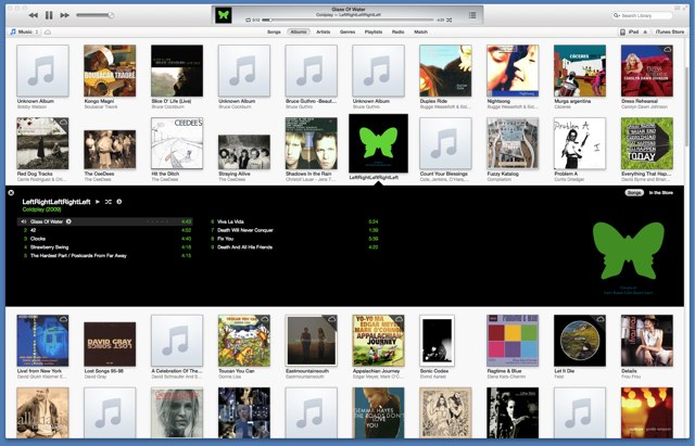 Coldplay in iTunes