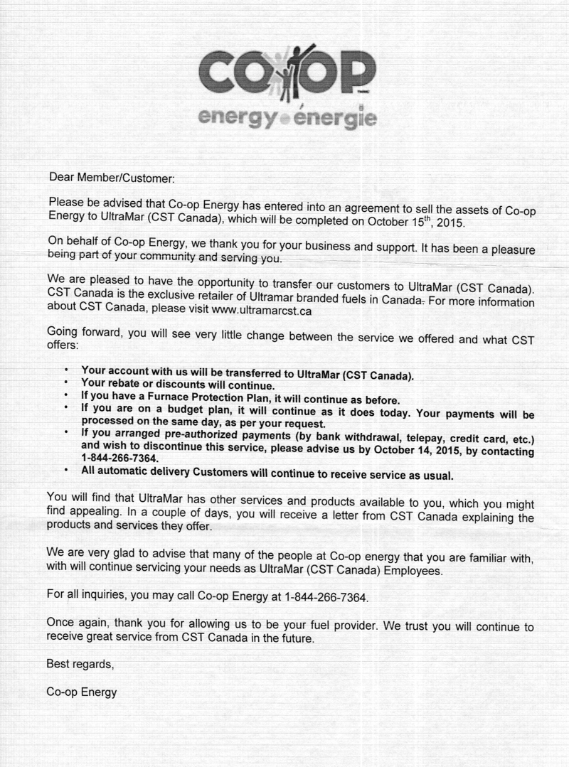 Coop Energy Closing Letter