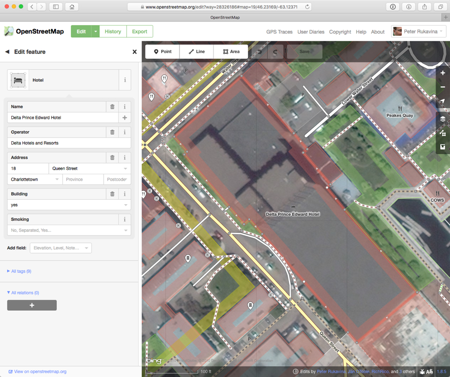 Editing the Delta Hotel in OpenStreetMap